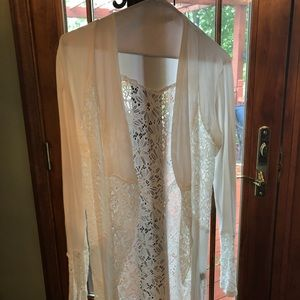 BKE Boutique eggshell lace and knit cardigan nWoT
